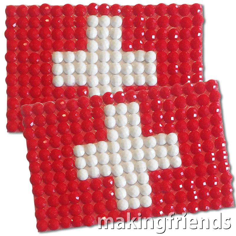 Diamond Painting Switzerland flag pin Girl Scout SWAP via @gsleader411