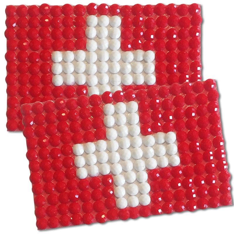 Diamond Painting Switzerland flag pin Girl Scout SWAP
