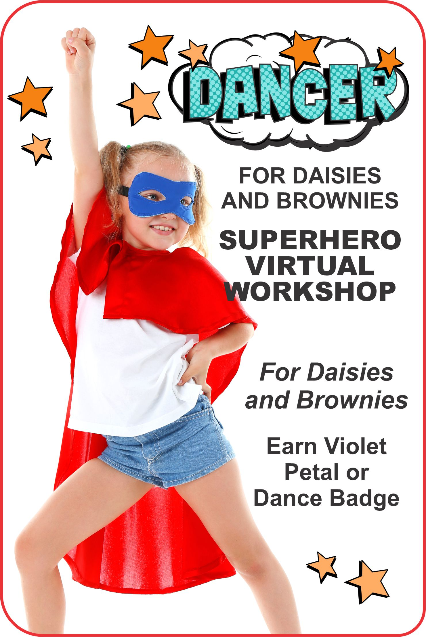 "One hour workshop presented by MakingFriends and Encore Dance Academy. Brownies earn the ""Dancer"" badge. Daisies earn the violet petal! #makingfriends #dancer #gsdanceworkshop #superherodance #superheros #encoredanceacademy #dance #girlscouts #onlineclass #virtualclas via @gsleader411"