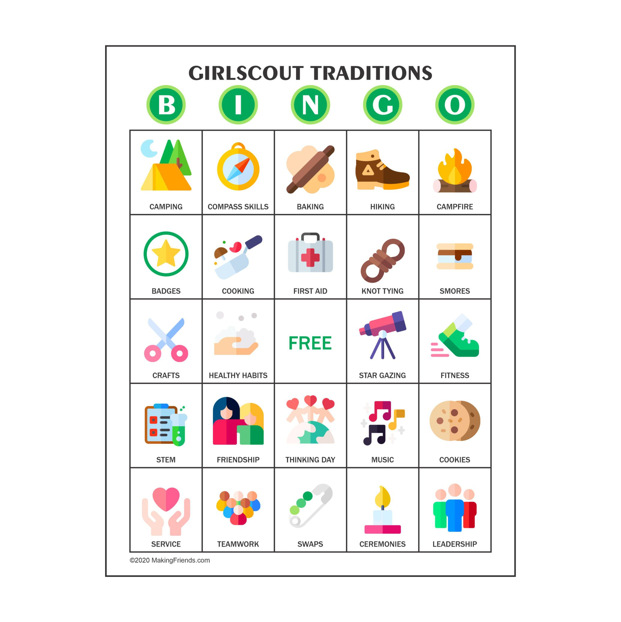 Girl Scout Traditions Bingo Cards