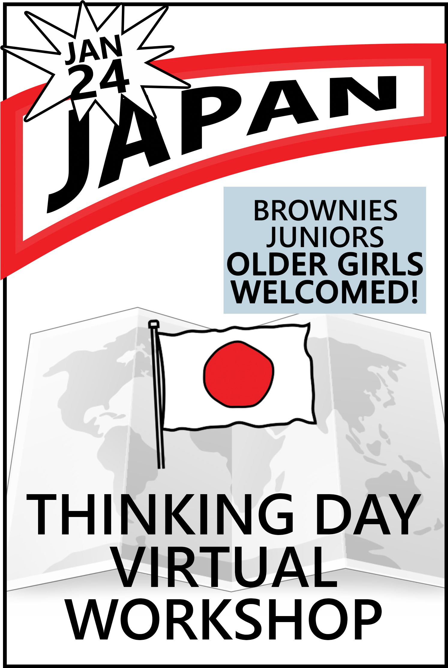 Explore Japanese traditions, food, clothing, customs, and more. The price includes supplies and an embroidered patch! #makingfriends #virtualclass #thinkingday #virtualworkshop #onlineworkshop #girlscouts #gsonline #japan #thinkingdayjapan #culture via @gsleader411