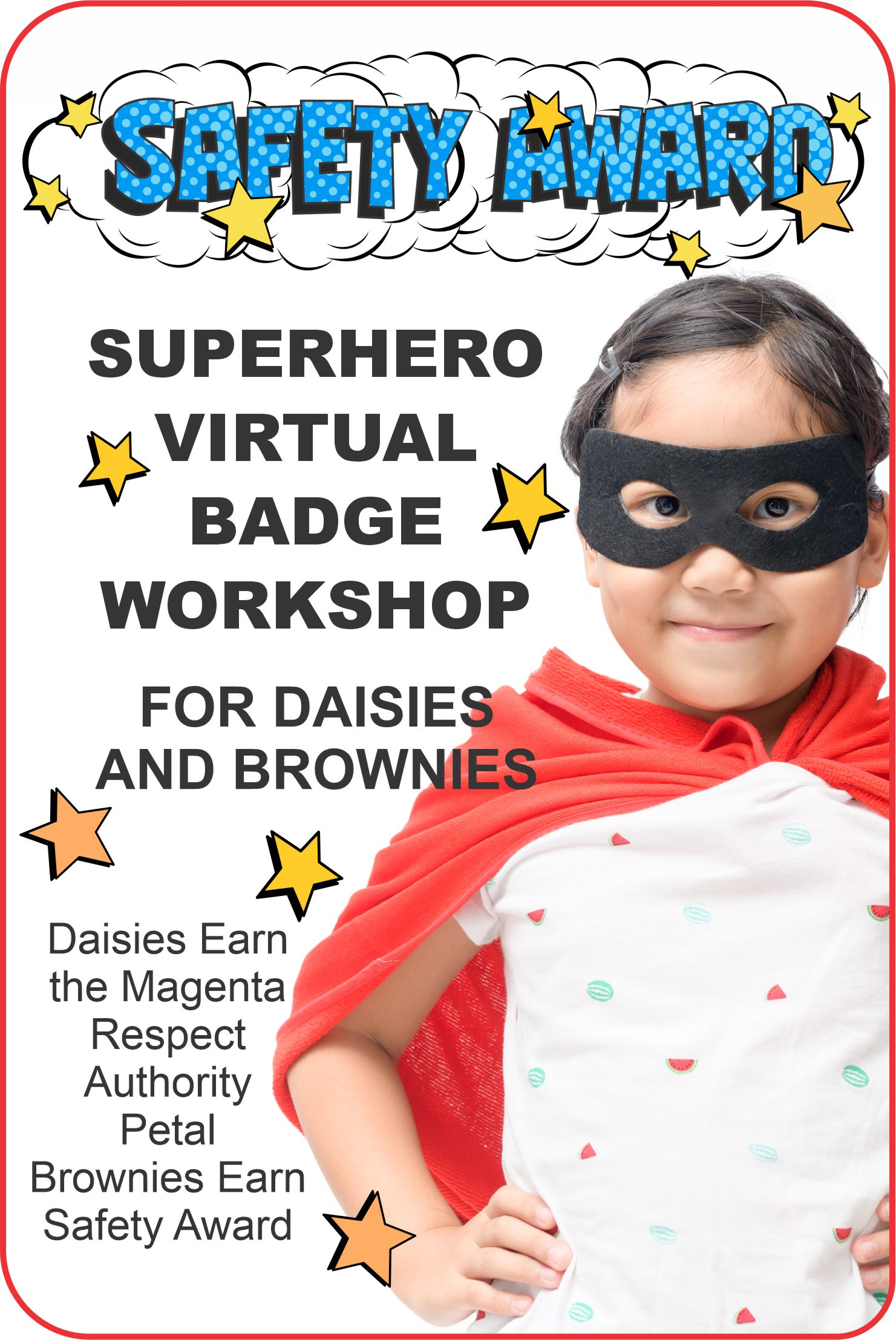Come dressed like a superhero and join Superheroes Nichole and Justice for our Daisy and Brownie Safety Award Workshop on Zoom! #makingfriends #virtual #safetyaward #safety #virutalworkshop #onlineclass #girlscouts #daisies #brownies #superhero #girlscoutworkshop #funpatch via @gsleader411