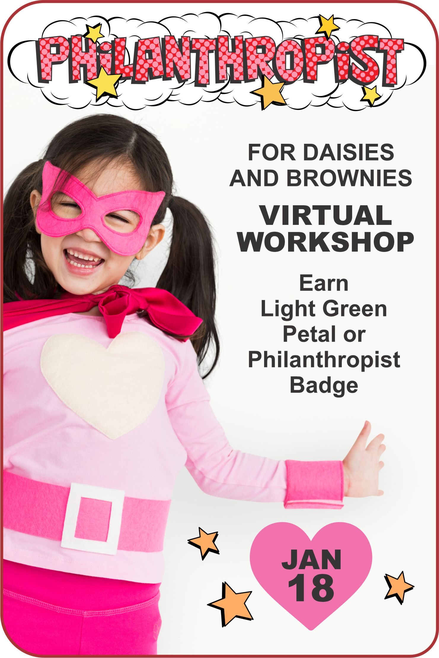 Come dressed like a superhero and join Superheroes Nichole and Charity for our Daisy and Brownie Philanthropist Workshop on Zoom! #makingfriends #philanthropist #virtualclass #onlineworkshop #girlscoutworkshop #daisy #brownie #gsworkshop #girlscouts #funpatch via @gsleader411
