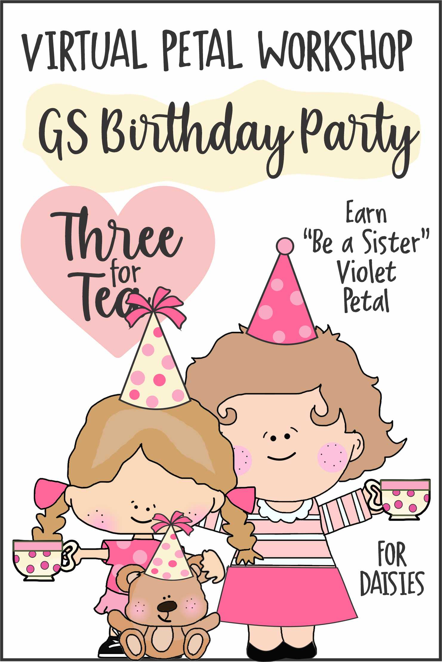 Special Event for Girl Scout Birthday for Daisies. Girls bring a special person and their favorite stuffed animal or doll. Brownies welcomed to join the fun! #makingfriends #teaparty #valentines #virtualvalentines #valentinesteaparty #dolls #tea #party #threefortea #daisypetals #daisies #girlscouts via @gsleader411