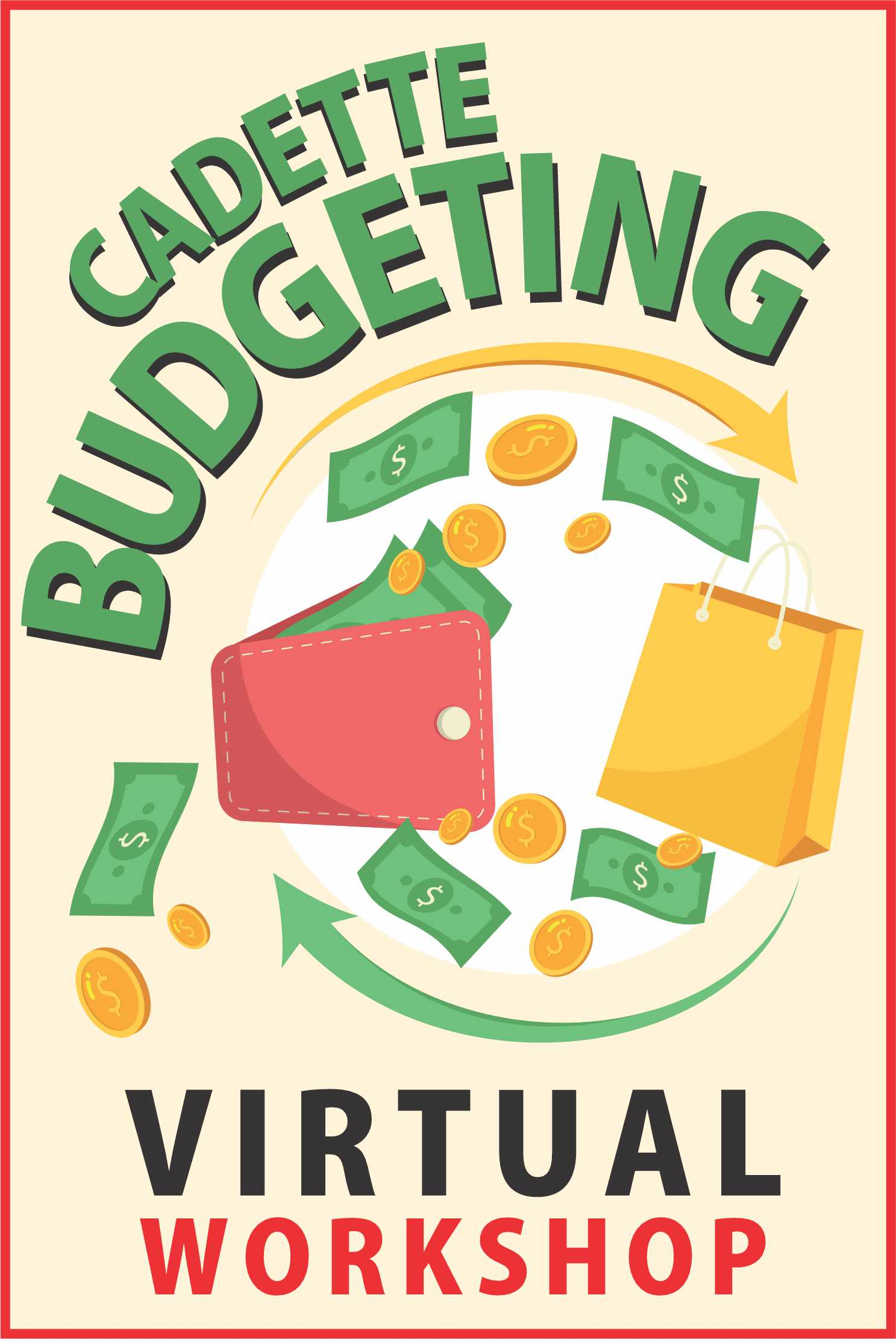 """It's all about fiscal finance and FUN! Your girls will participate in a mock auction to """"win"""" items -- on a budget, of course! #makingfriends #budgeting #girlscoutbudgeting #girlscouts #gsbadge #financialliteracy #auction #virtualworkshop #onlineclass #gs #cadettes #gscaddette via @gsleader411"""