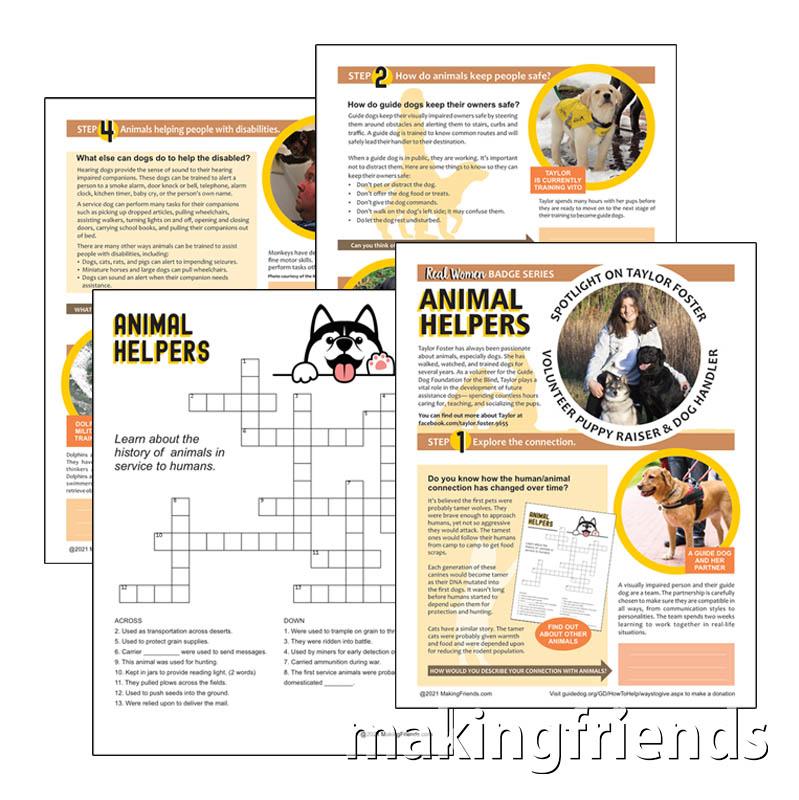 Girl Scout Animal Helpers Badge Download for Cadettes via @gsleader411