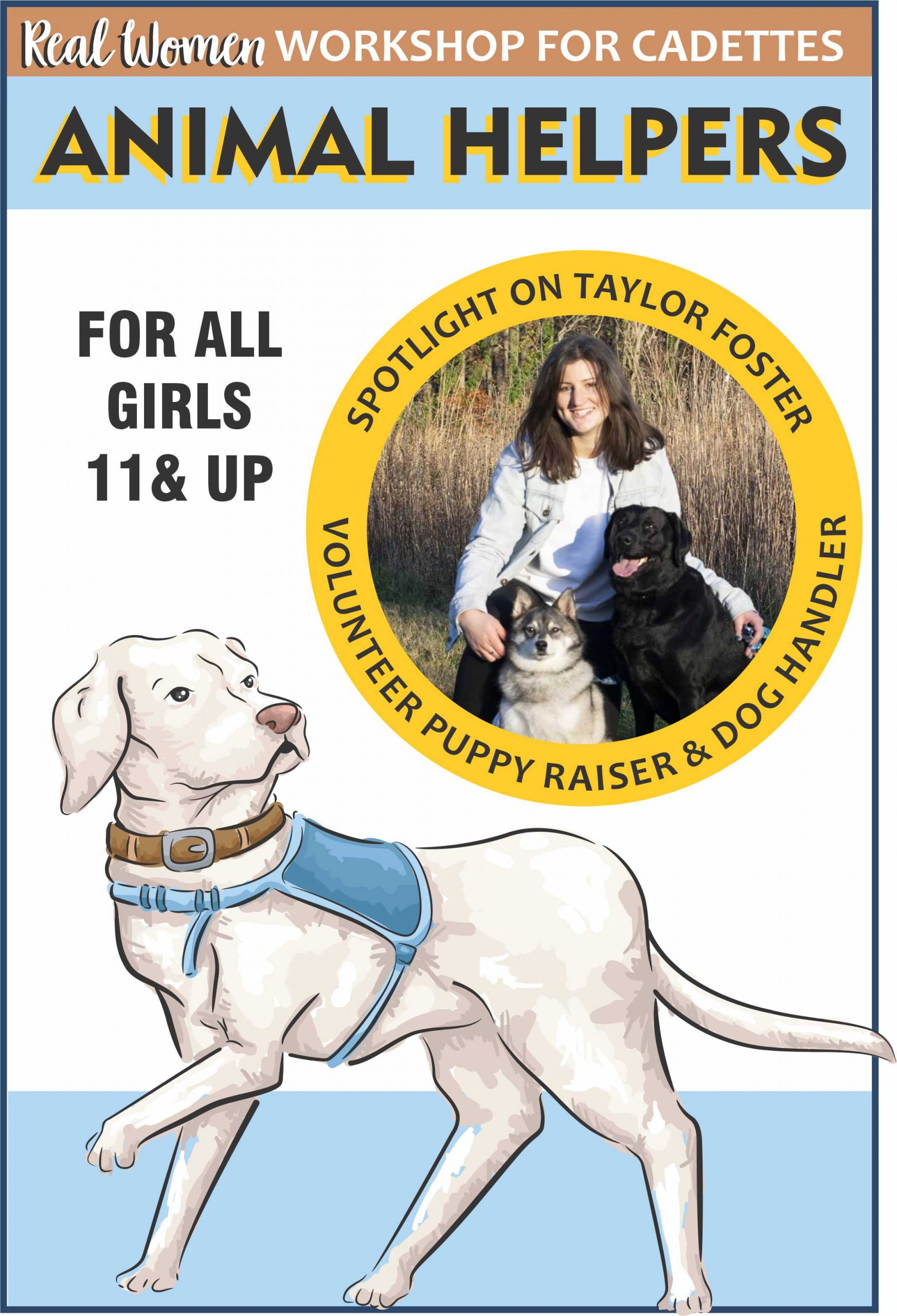 Cadettes find out what it takes for a dog to become an animal helper as part of our Real Women workshop series! #makingfriends #animalhelpers #realwomen #virtualworkshop #girlscouts #gs #virtualgirlscouts #dogs via @gsleader411