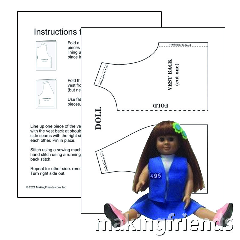 Printable Vest Pattern for Bear. Includes pattern and illustrated instructions. Can be sewn by hand or with a sewing machine. Available with blue, brown or green peel and stick embroidered troop numbers. Makes a great project for a beginning seamstress. via @gsleader411
