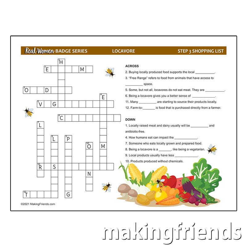 Girl Scout Locavore Crossword via @gsleader411