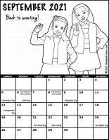 Girl Scout Monthly Calendar September 2021